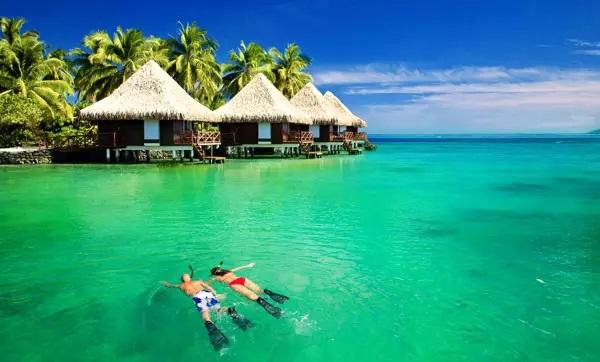 Scuba diving at tropical resort